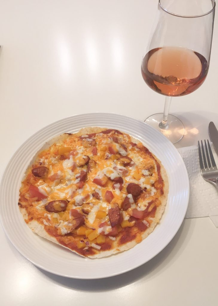 Quail's Gate Rosé paired with homemade gluten free pepperoni pizza.
