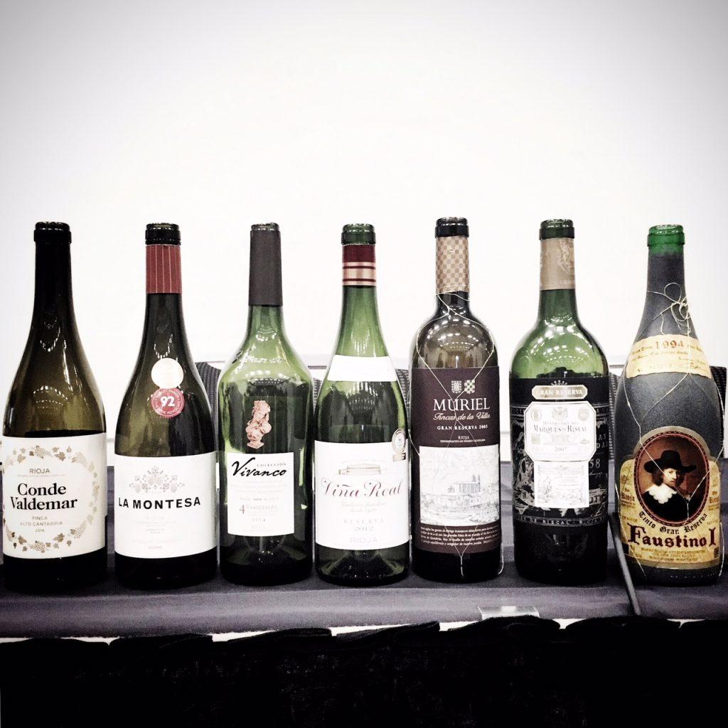 The wine lineup at the Rioja Renaissance seminar at VIWF 2018